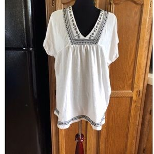 Sonoma Embroidery Accent Top Size 1X
